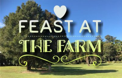 Graphic words saying 'feast at the farm'