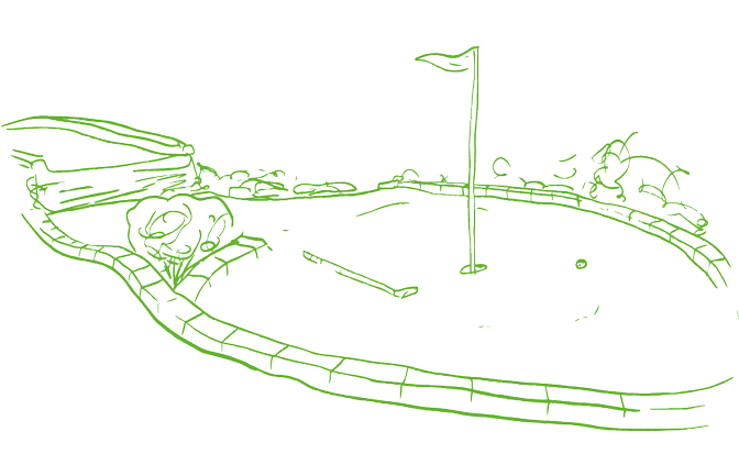 An illustration of a mini golf hole