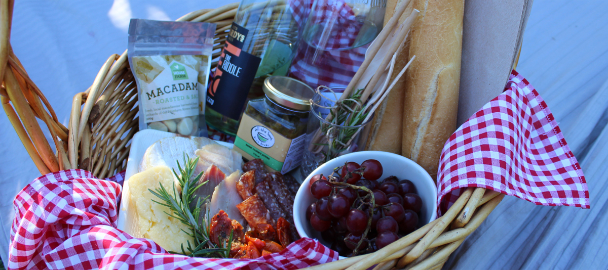 A picnic hamper of gourmet foods