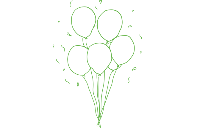 An illustration of balloons and confetti