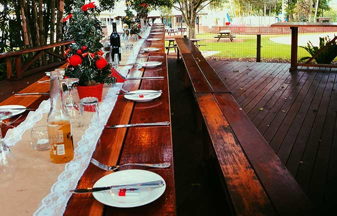 A long table set for a celebration outdoors under a grove of trees