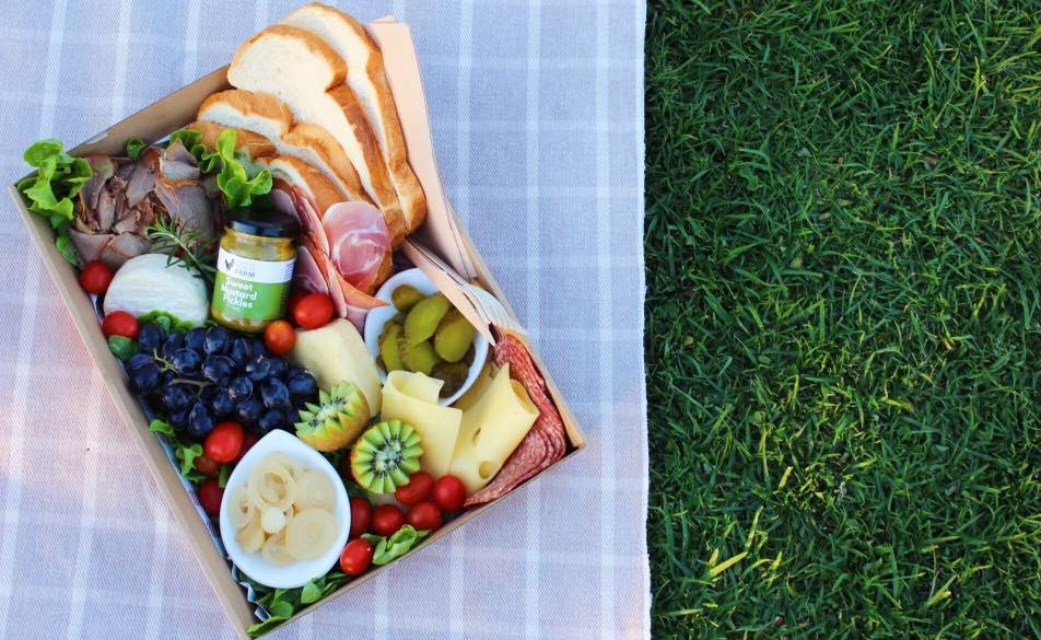 Our father's day ploughmans picnic on the grass